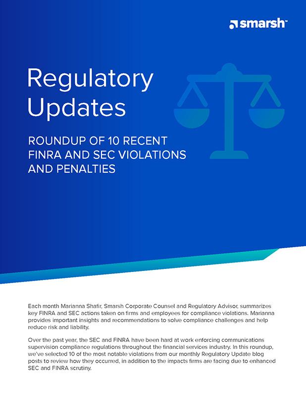 Roundup of Top 10 Recent FINRA & SEC Violations