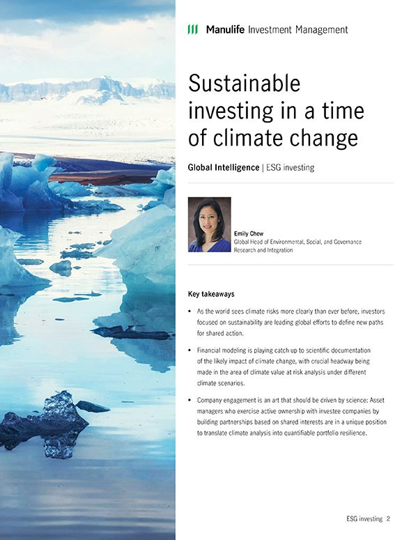 Sustainable investing in a time of climate change