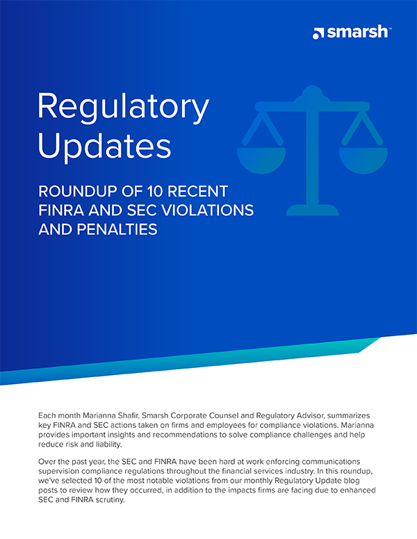 Roundup of 10 FINRA and SEC Violations and Penalties