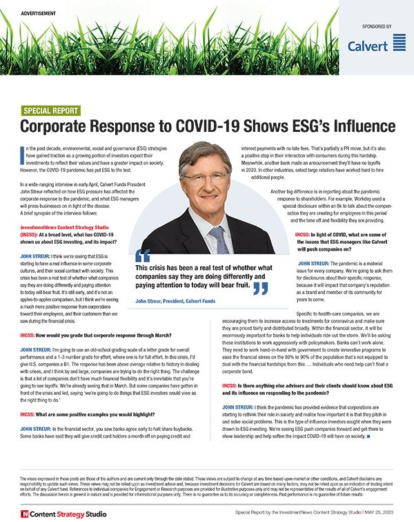 Corporate Response to COVID-19 Shows ESG's Influence