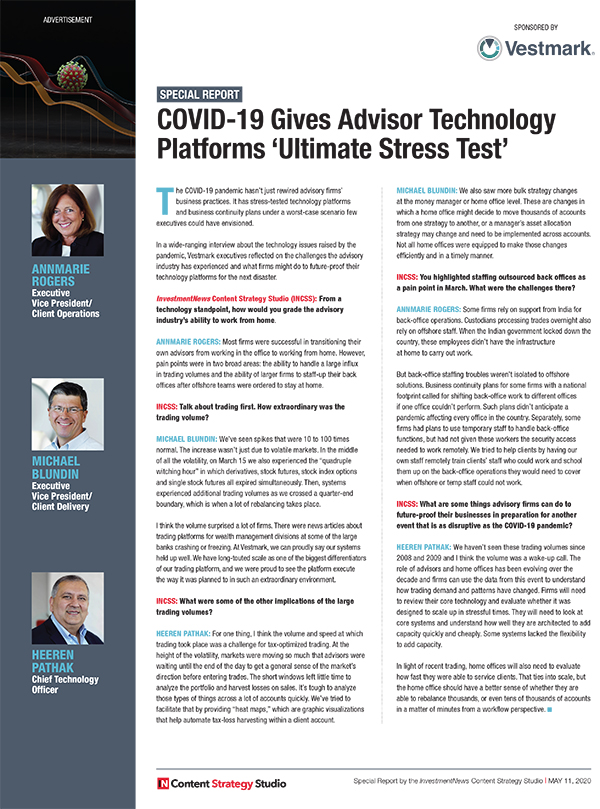 COVID-19 Gives Advisor Technology Platforms 'Ultimate Stress Test'