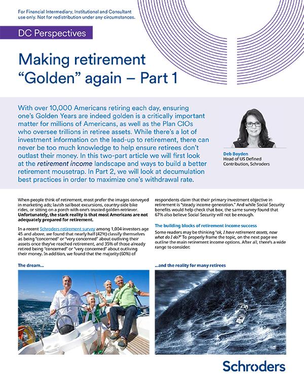 """Making retirement """"Golden"""" again"""