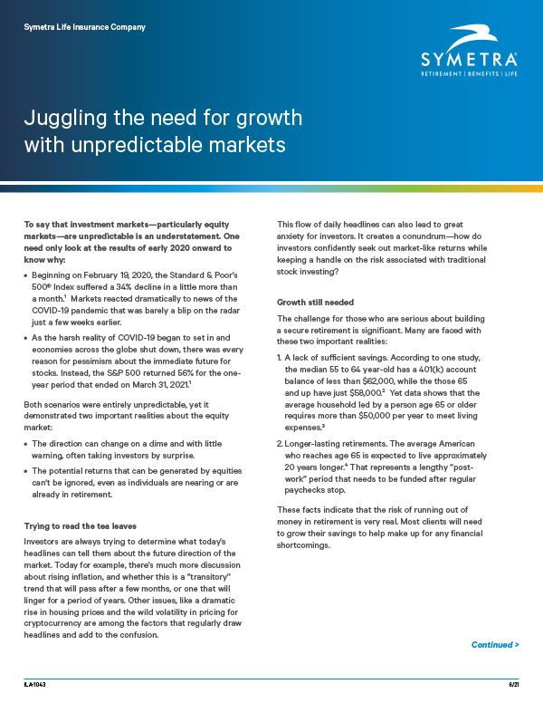 Juggling the need for growth with unpredictable markets